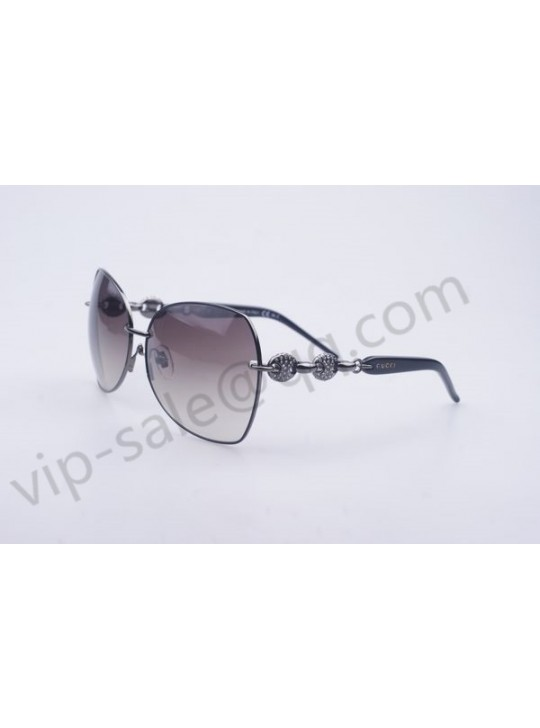 Gucci medium butterfly silver frame sunglasses with diamonds