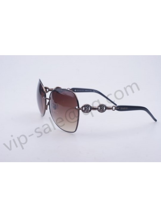 Gucci medium butterfly brown frame sunglasses with diamonds