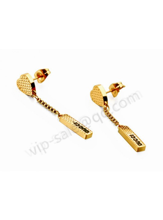 Gucci cuboid charm in yellow heart earrings