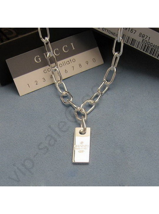 Gucci sterling silver tag Necklace