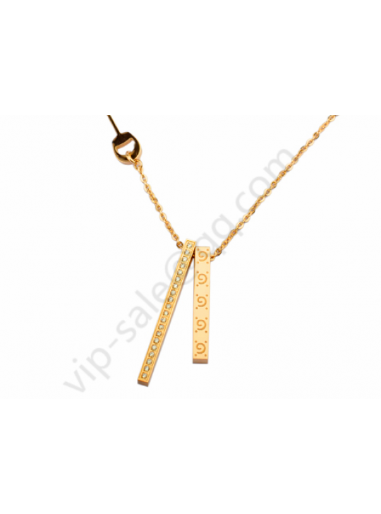Gucci two Cuboid temperament yellow gold  necklace with diamond