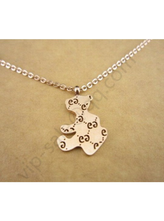 Gucci Bear Hollow double G ross gold color necklace