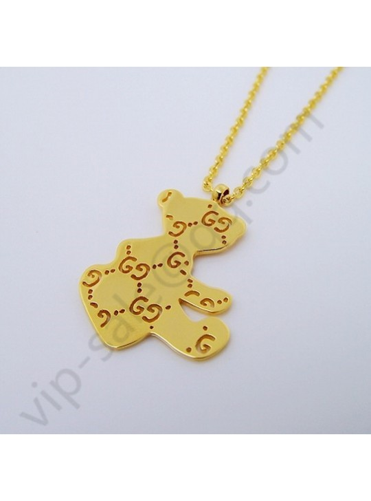 Gucci Bear Hollow double G yellow gold color necklace