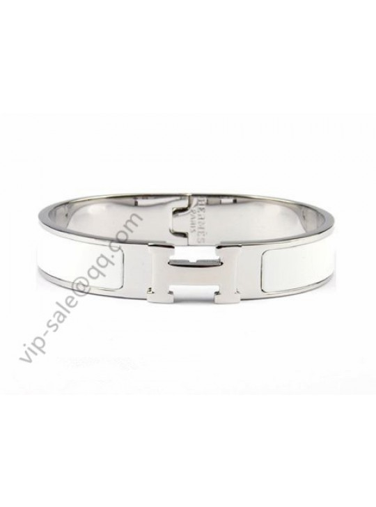 Hermes Clic H narrow bracelet, White Enamel, Silver and Platinum