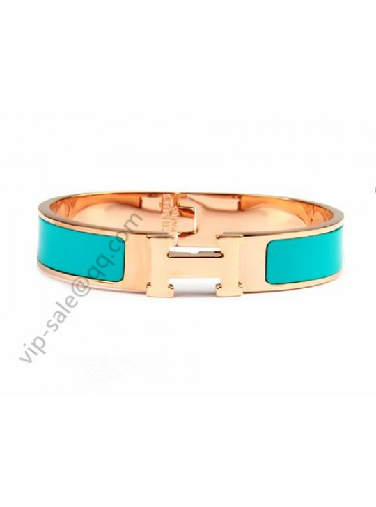 Hermes Clic H narrow bracelet, Green Enamel, in 18kt Pink Gold