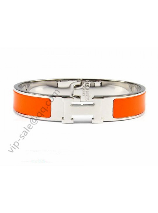 Hermes Clic H narrow bracelet, Orange Enamel, Silver and palladi