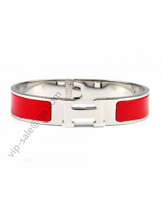 Hermes Clic H narrow bracelet, Red Enamel, Silver and palladium
