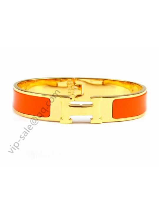 Hermes Clic H narrow bracelet, Orange Enamel, Gold Plated