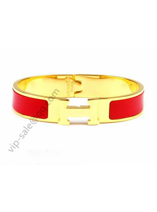 Hermes Clic H narrow bracelet, Red Enamel, Gold Plated Hardware