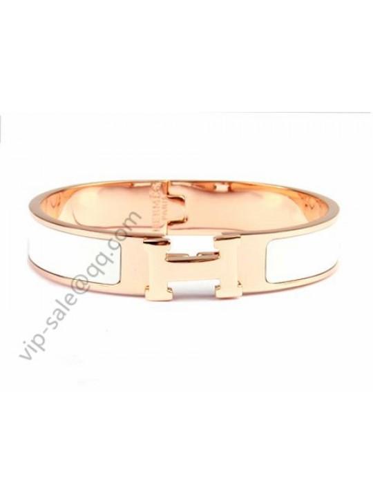 Hermes Clic H narrow bracelet, White Enamel, in 18kt Pink Gold