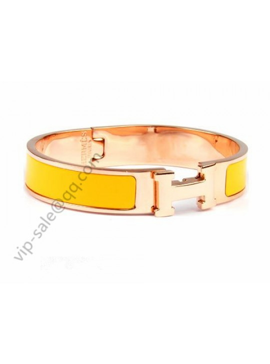 Hermes Clic H narrow bracelet, Yellow Enamel, in 18kt Pink Gold