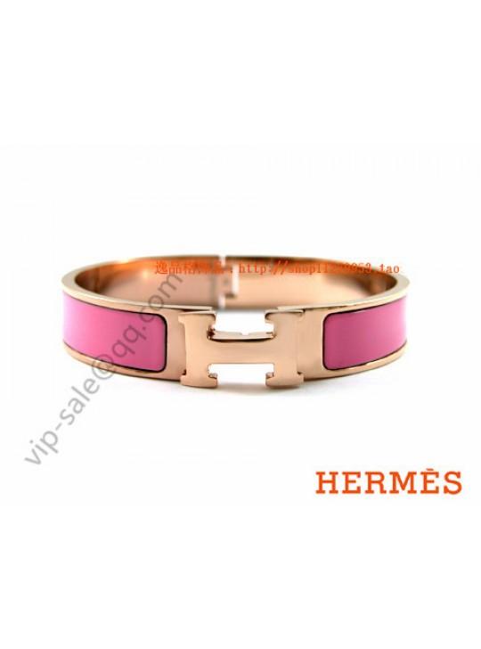 Hermes Clic H narrow bracelet, Pink Enamel, in 18kt Pink Gold
