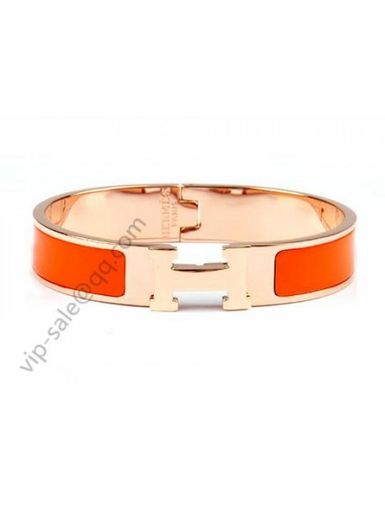 Hermes Clic H narrow bracelet, Orange Enamel, in 18kt Pink Gold