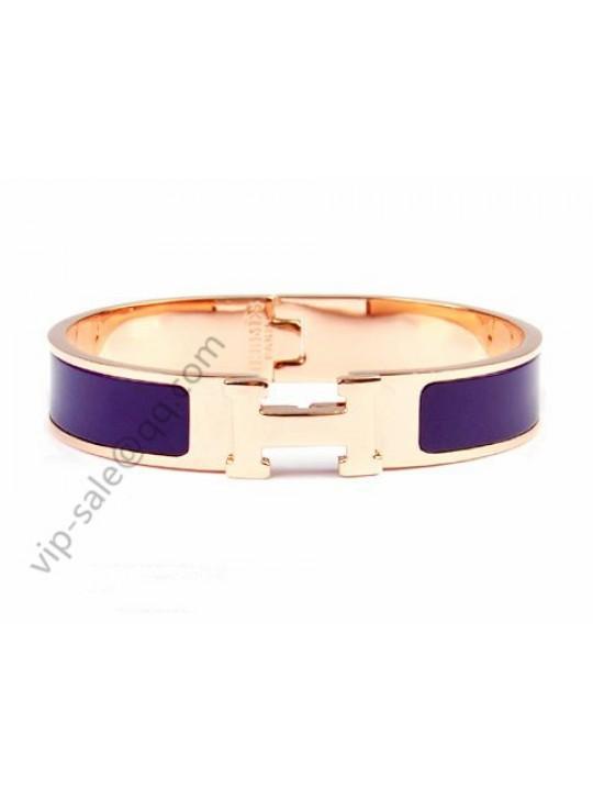 Hermes Clic H narrow bracelet, Purple Enamel, in 18kt Pink Gold