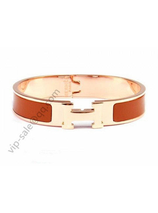 Hermes Clic H narrow bracelet, Brown Enamel, in 18kt Pink Gold