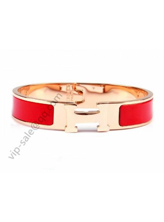 Hermes Clic H narrow bracelet, Red Enamel, in 18kt Pink Gold