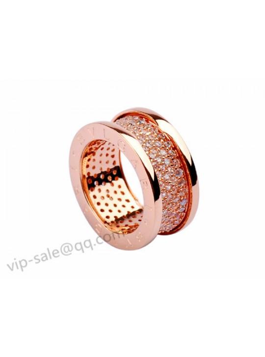 Bvlgari B.zero1 Ring in 18kt Pink Gold with Pave Diamonds