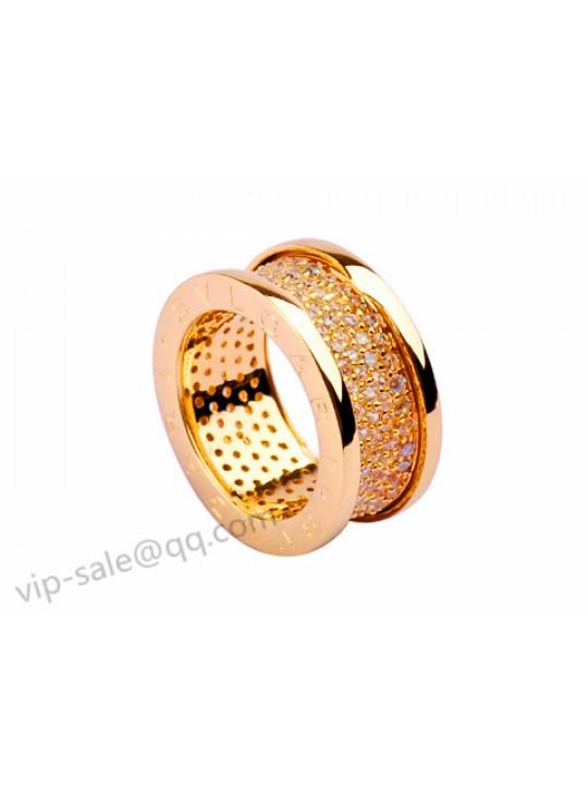 Bvlgari B.zero1 Ring in 18kt Yellow Gold with Pave Diamonds