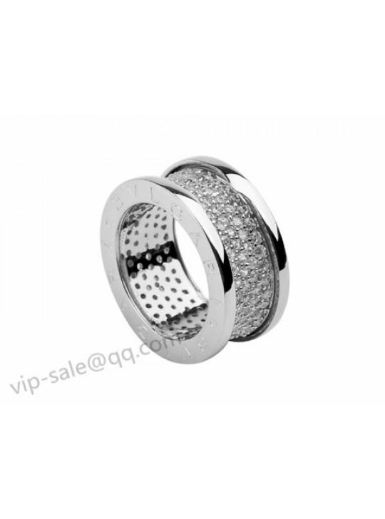 Bvlgari B.zero1 Ring in 18kt White Gold with Pave Diamonds