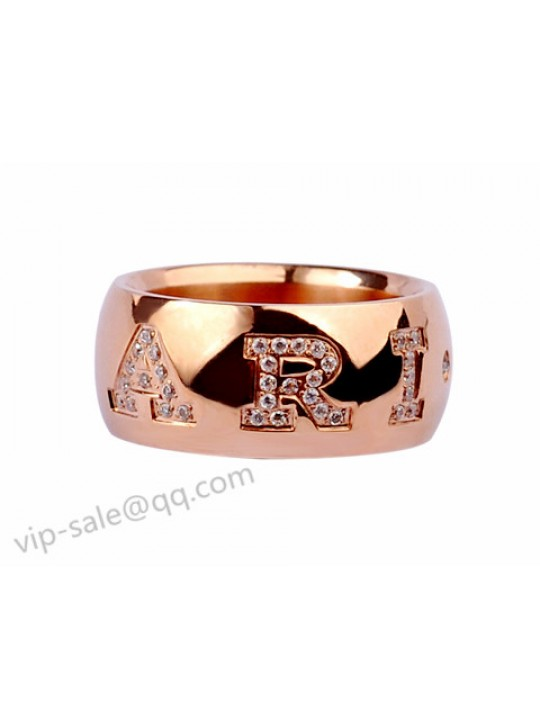 bvlgari monologo ring in 18kt pink gold with pave diamonds