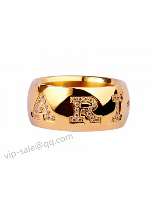 Bvlgari MONOLOGO Ring in 18kt Yellow GOLD with Pave Diamonds