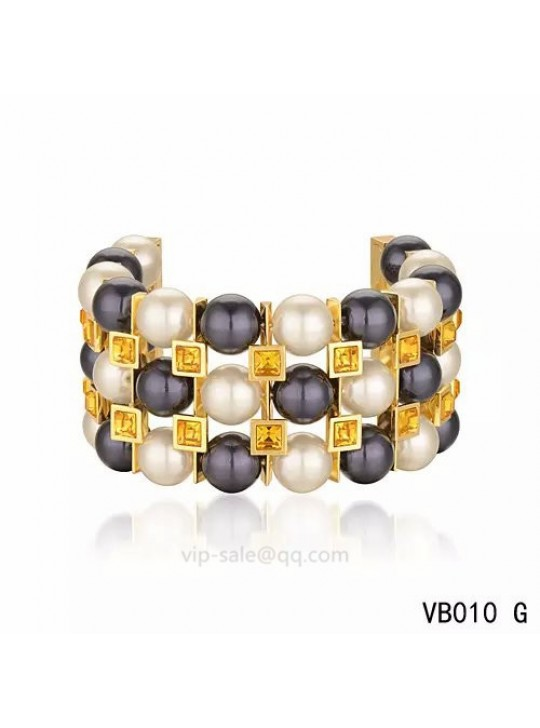Louis Vuitton three rows Multicolour Pearl Bracelet in the yellow gold