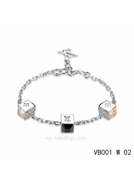 Louis Vuitton Gamble Bracelet with three glamorous dice pattern and black strass-encrusted in white gold