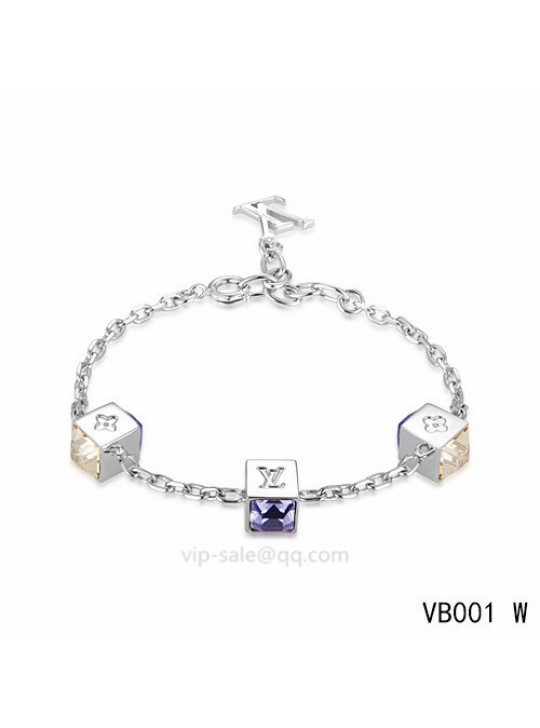 Louis Vuitton Gamble Bracelet with three glamorous dice pattern and purple strass-encrusted in white gold