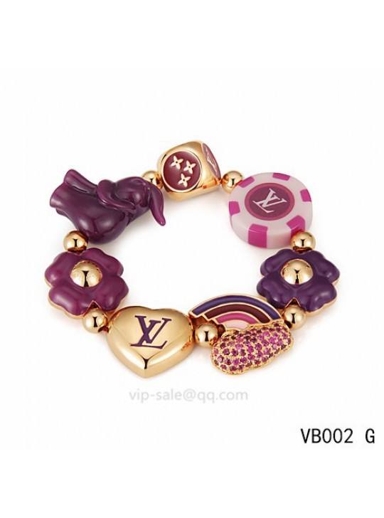 Louis Vuitton heart Bracelet with dice pattern in the yellow gold