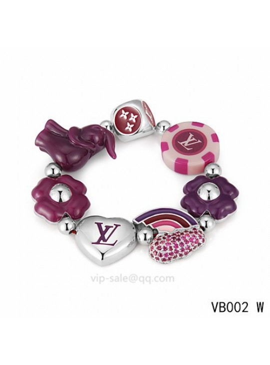 Louis Vuitton heart Bracelet with dice pattern in the white gold