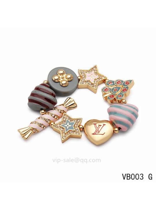 Louis Vuitton heart Bracelet with Pentagram in the yellow gold