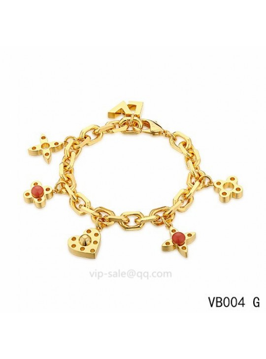 Louis Vuitton adjustable metal bracelet in the yellow gold