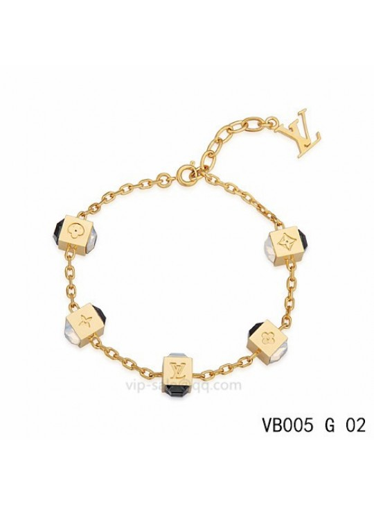 Louis Vuitton Gamble Bracelet with five glamorous dice pattern and black strass-encrusted in yellow gold