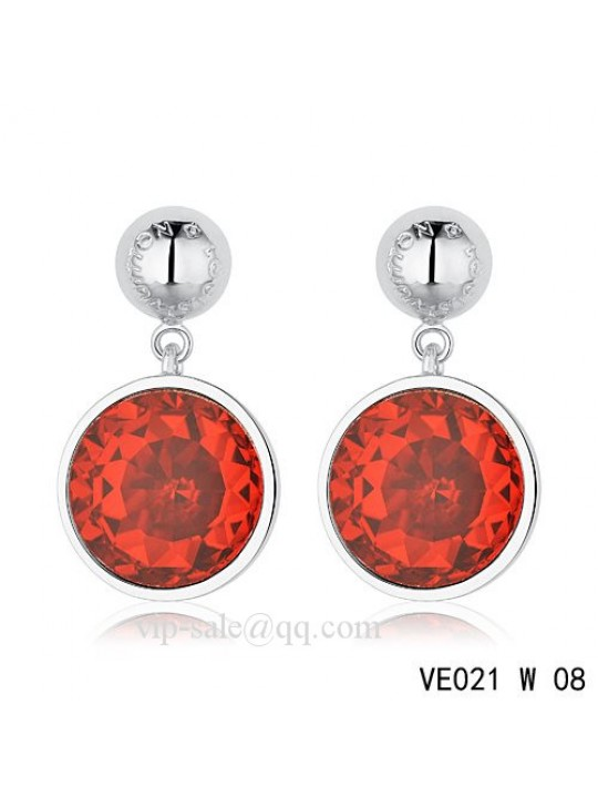 Louis Vuitton red crystal earrings in white