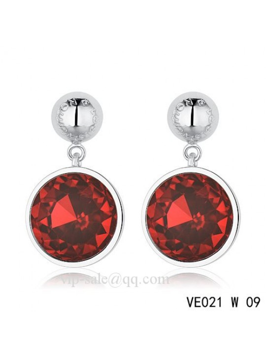 Louis Vuitton crimson crystal earrings in white