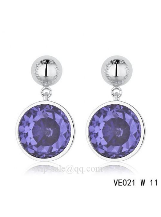 Louis Vuitton blue crystal earrings in white