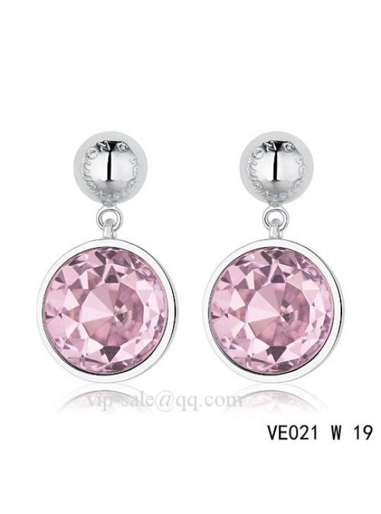 Louis Vuitton purple crystal earrings in white