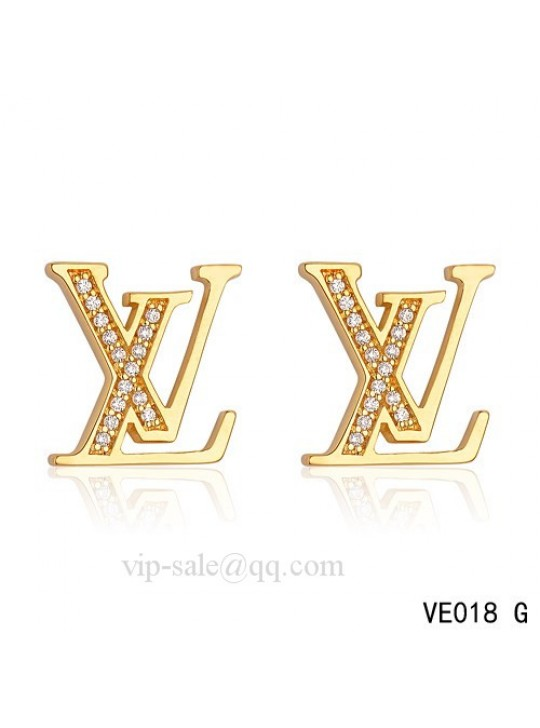 "Louis Vuitton "" LV "" logo earrings in yellow with diamonds"