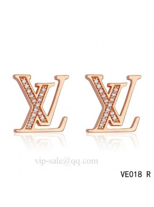 "Louis Vuitton "" LV "" logo earrings in pink with diamonds"