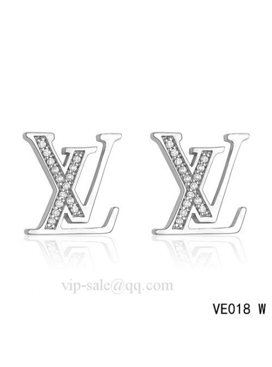 "Louis Vuitton "" LV "" logo earrings in white with diamonds"