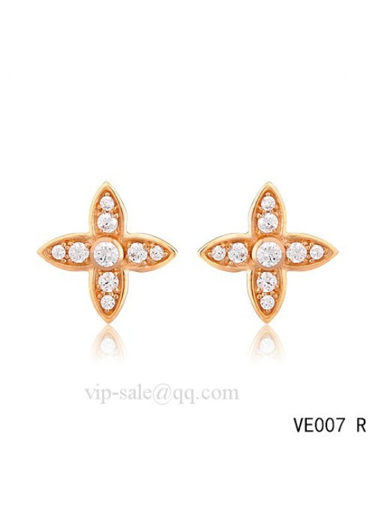 Louis Vuitton star earrings in pink with diamonds