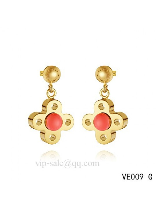Louis Vuitton flower earrings with red crystal in yellow