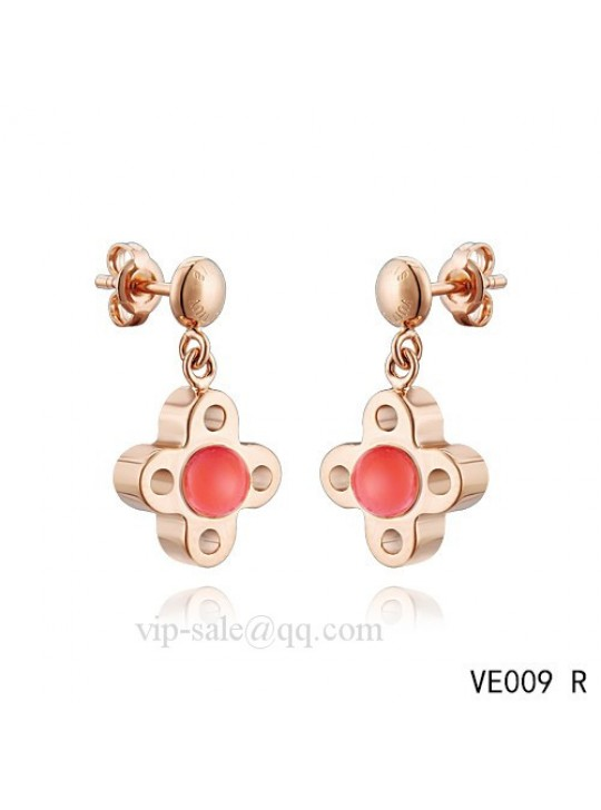 Louis Vuitton flower earrings with red crystal in pink