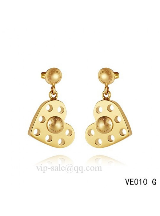 Louis Vuitton heart hang earrings in yellow