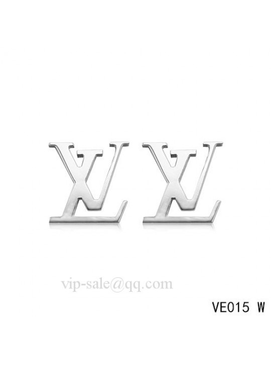 "Louis Vuitton "" LV "" logo earrings in white"