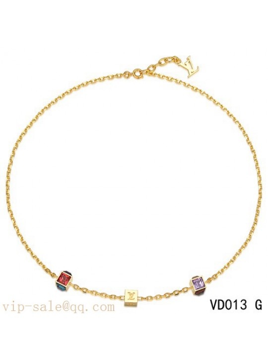 Louis Vuitton yellow gold plated collier gamble chain necklace