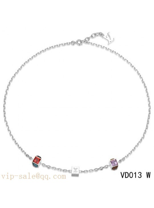 Louis Vuitton white gold plated collier gamble chain necklace