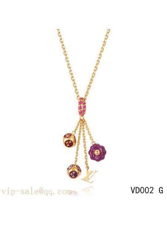 Louis Vuitton Dice Flower Motif Brass Choker Necklace in yellow gold