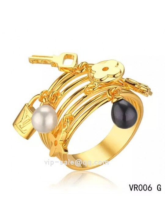 Louis Vuitton Monogram ring in yellow gold with pearls