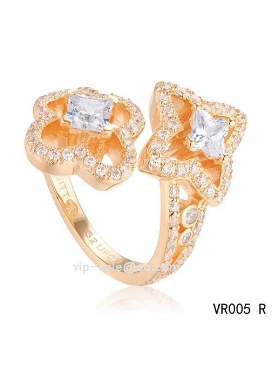 LES ARDENTES YOU & ME Ring with Louis Vuitton cut diamonds in the pink gold